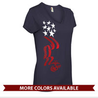 _Ladies V-Neck: Stars-N-Stripes with EGA