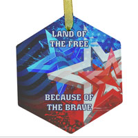 Ornament: Stars n Stripes Land of Free (Glass)