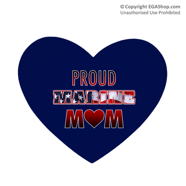 Heart Shape Mouse Pad: Proud Marine Mom - Heart