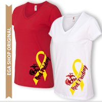 _Ladies V-Neck: Red Friday EGA & Yellow Ribbon