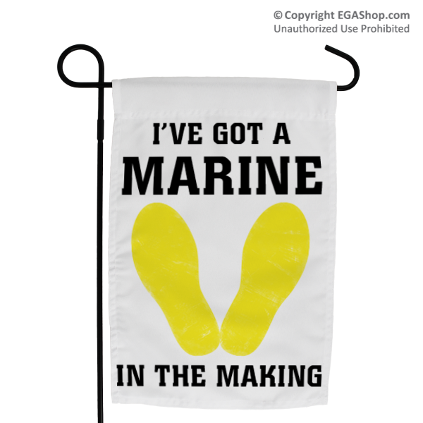 Garden Flag: Yellow Footprints, I've Got a Marine in the Making