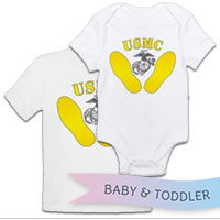 _T-Shirt/Onesie (Toddler/Baby): Yellow Footprints, EGA