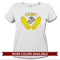 _T-Shirt (Ladies): Yellow Footprints, EGA