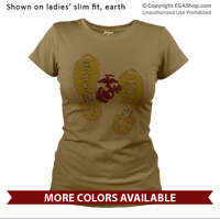 _T-Shirt (Ladies): Bootprints With EGA