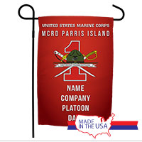 Garden Flag: Recruit, 1st Btn-Parris Island (Customized)
