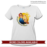_T-Shirt (Ladies): Rosie: Proud Marine Mom/Wife