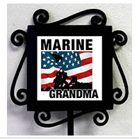 Garden Stake and Tile: Iwo Jima Marine Family