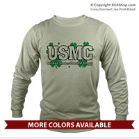 _Long Sleeve Shirt (Unisex): USMC Shamrocks