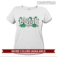 _T-Shirt (Ladies): USMC Shamrocks