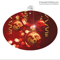 Suncatcher, Oval: Christmas Ribbons and Globes with EGA