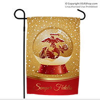 Garden Flag: Snow Globe with Eagle, Globe and Anchor