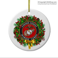 Ornament: USMC Seal Wreath (Porcelain)