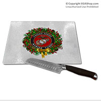 Cutting Board: USMC Seal Wreath (Glass)