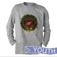 _Youth Long Sleeve Shirt: USMC Seal Wreath