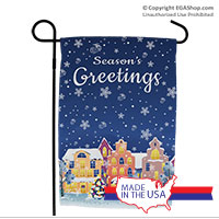 Garden Flag: Snowy Holiday Street
