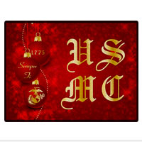 Doormat: Red Ornaments with USMC