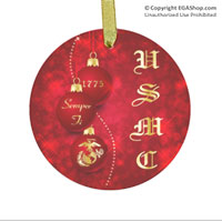 Ornament: Red Ornaments with USMC (glass)