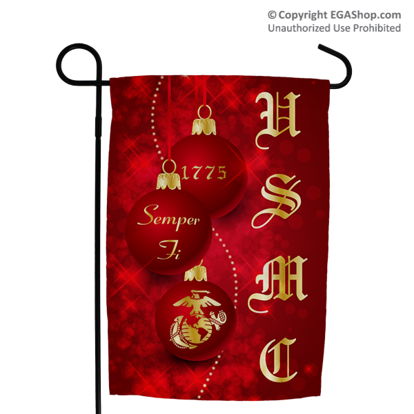 Garden Flag: Red Ornaments with USMC