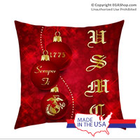 Pillow Sham: Red Ornaments with USMC (14x14)