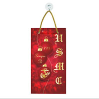 Suncatcher, Rectangle: Red Ornaments with USMC