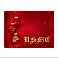 Pet Bowl Place Mat: Red Ornaments with USMC