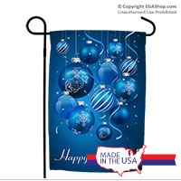 Garden Flag: Blue Ornaments