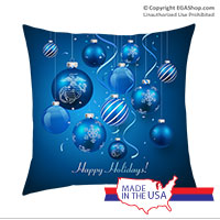 Pillow Sham: Blue Ornaments (14x14)