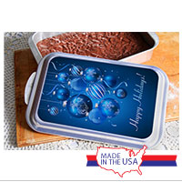 Cake Pan and Lid: Blue Ornaments