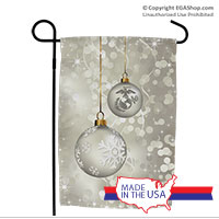 Garden Flag: Silver Ornaments