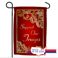 Garden Flag: Support Our Troops - Valentine