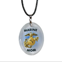 Crystal Pendant Necklace: Gold EGA - Marine Mom