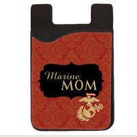 Phone Card Caddy: Red/Gold Marine Mom Scrolls