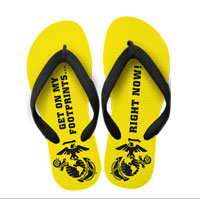 Flip Flops: (adult or youth sizes) Yellow Footprints