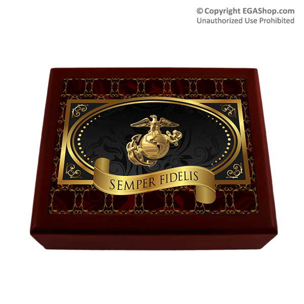 Cigar Humidor: Elegant Black with Eagle, Globe and Anchor