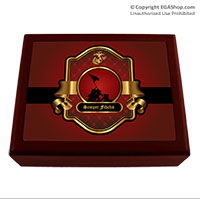 Cigar Humidor: Red and Gold Iwo Jima