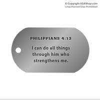 Dog Tag, Single: Scripture Philippians 4:13