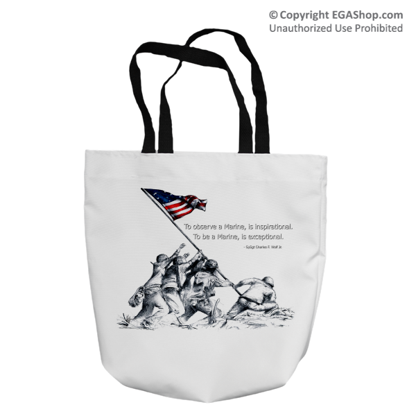 Tote Bag: SemperToons - Iwo Jima Wolf Quote (16x16)