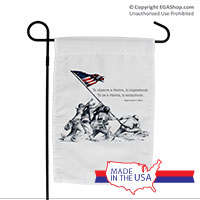 Garden Flag (Made in USA): SemperToons - Iwo Jima Wolf Quote