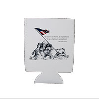 Koozie, can: Iwo Jima Wolf Quote