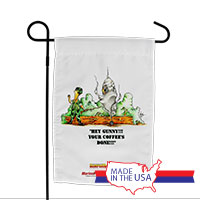 Garden Flag (Made in USA): SemperToons -Coffee's Done!