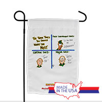 Garden Flag (Made in USA): SemperToons -Three Times to Worry