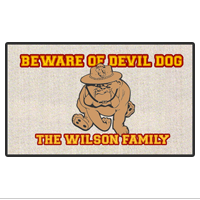 "Doormat: Customizable 18"" x 24"" Devil Dog"