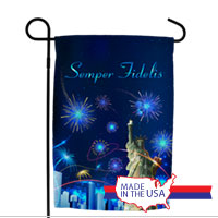 Garden Flag: Lady Liberty with Fireworks