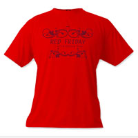 _T-Shirt (Unisex): Red Friday...It's a Military Thing (Swirls)