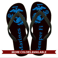 Flip Flops: (adult or youth sizes)EGA, Marines & Semper Fi on Black