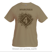 __Vintage T-shirt (Unisex): 4th Marine Division **w/ red & blue**