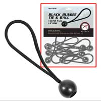 Bungee Cord: Tie and Ball (6'' Black, 10-pack)