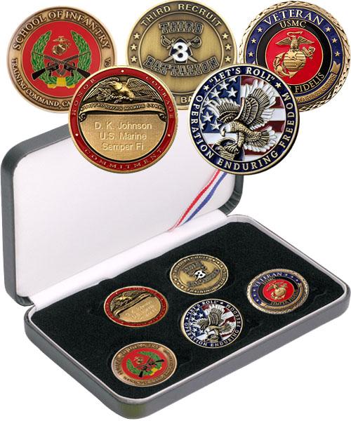 Set: Custom 5-coin set w/ Engraved Rank Coin, Combat Marine or Veteran