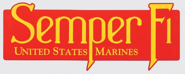 Decal, Semper Fi (classic red/yellow)