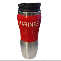 Travel Mug: Marines on Red Acrylic & Stainless Steel Tumbler